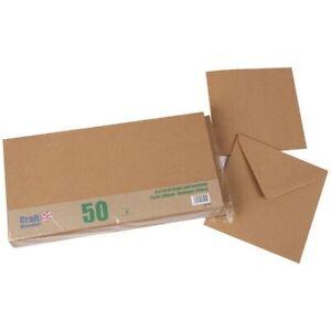 Craft UK 6in x 6in Card Blanks & Envelopes Kraft   50 pack