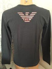 EMPORIO ARMANI Large Eagle Logo Grey L/Sleeve Crew Tee Sizes S-XL BNWT IN BOX