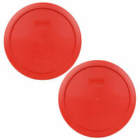 Pyrex 7402-PC 6/7 Cup Poppy Red Round Plastic Storage Lid 2PK for Glass Bowl