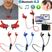 Wireless Bluetooth Earphone Magnetic Headphones Sports Headset Support TF Card