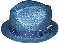 PAUL SMITH TRILBY 100% STRAW LIGHT BLUE HAT SIZE-M VERY RARE MADE IN ITALY
