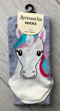 Ladies/Girls Blue-Grey Unicorn And Stars Cotton Ankle Socks