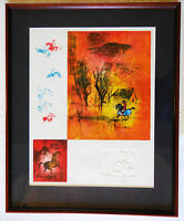 """Lebadang """"Cheval Nature"""" Framed Limited Edition Lithograph Hand Signed COA"""