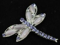 2pcs Lavdender purple crystal cateye bead silver plated dragonfly Brooch pin D35