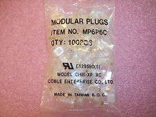 QTY (100)  6P6C MODULAR PLUGS RJ12 GOLD PLATING  MP6P6C