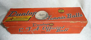 VINTAGE 1952  L.T.A.OFFICIAL BALL DUNLOP FORT 4x TENNIS BALLS BOXED