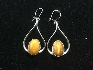 GORGEOUS Vintage Butterscotch Amber & Sterling Silver French Hook Drop Earrings
