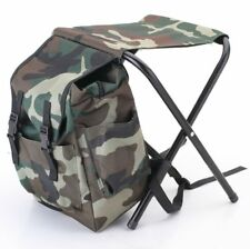 Fishing Bag with Chair Camouflage Backpack Foldable Portable