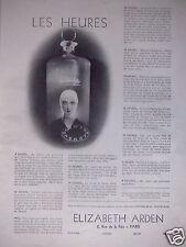 PUBLICITÉ 1932 PRODUITS DE BEAUTÉ ELIZABETH ARDEN LES HEURES  - ADVERTISING