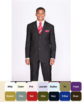 Fortino Landi Men's Basic Suit with Pants in Burgundy, Gray, Purple 802P