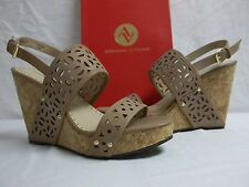 Adrienne Vittadini 11 M Countiss Opaline Leather Open Toe Wedges New Women Shoes