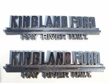 "Old Canadian Car Dealer ""Kingland Ford Hay River N.W.T."" Emblem Plastic Pair"