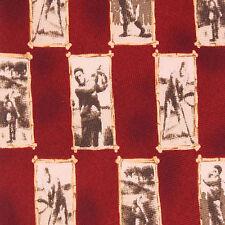 Classic Golfers Golf Scene Gallery Check Pattern Red Mens Island Silk Neck Tie