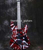 New Upgrade KRM Electric Guitar YL Striped R/B/W Floyd Rose Bridge W/Nut Lock