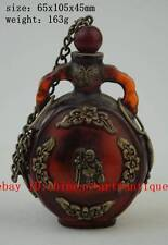 Chinese old Tibet silver amber carved butterfly Buddha statues snuff bottle