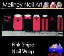 Pink Stripe Skull Nail Art Wraps Full Cover Stickers Bow