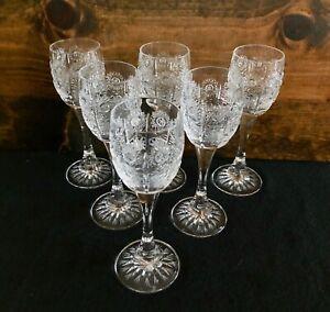 Czech Crystal Cordial Glasses Set of Six (6) Bar Aperitif