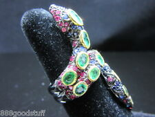 New Snake Ring Emerald Blue Sapphire Jewelry Ring Size 6.5 SILVER 925