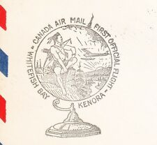 Whitefish Bay Kenora Native Indian Bow 1935 Canada Air Mail First Flight Cover ß