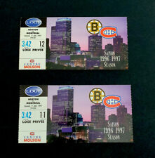 Montreal Canadiens Hockey Tickets (2) NHL Loge 1996-97 Canadiens Vs Boston
