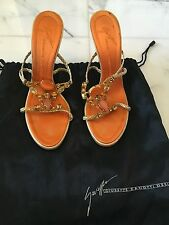 Giuseppe Zanotti Orange and Gold Embellished Heels Sandals Size 38.5 Women's