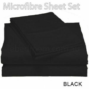 New Arrival 100% Soft Microfiber Double Bed Fitted Flat Sheets Set BLACK
