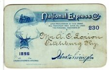 National Express Company- Package, Personal Transportation 1896 Annual Pass