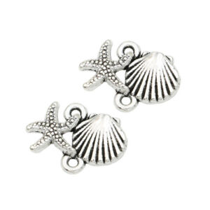 30PCS Antique Silver Starfish Shell Charm Connector for Jewelry Accessories DIY