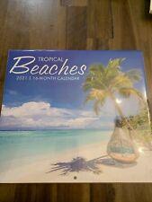 2021 TROPICAL BEACHES WALL CALENDAR 16 MONTH BEACH PICTURE 11 X 10