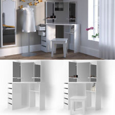 White High Gloss Luxury Cosmetic Corner Dressing Mirror Table Stool Jewelry Gift