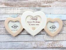 """2X2"""" Family Forever Slogan Triple Heart Photo Frame"""