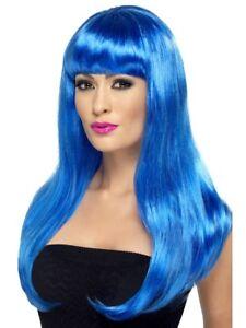 Blue Long Wavy Babelicious Wig Ladies Celebrity Fancy Dress Accessory