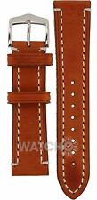 Hirsch Liberty Strap 22mm Gold Brown Genuine Textured Leather With Free Pins