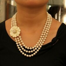 Halskette Perle Multirank Blume weiß Emaille Biene Class Original Abend Spaß 1