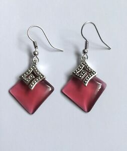 Red Titanium Crystal Square Earrings In 925 Silver Plate.  UK.
