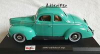 MAISTO 1:18 Scale Diecast Model Car 1939 Ford Deluxe Coupe in Green