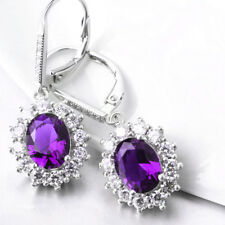 18K White Gold over  Tanzanite Halo Leverback Earring