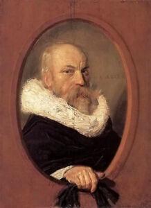 Oil painting frans hals - petrus scriverius male portrait hand painted canvas @