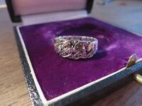 Hübscher 925 Silber Ring Panzerketten Optik Markasiten Retro Vintage Funkelnd