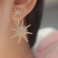 1Pc Charm Women'  Earring Crystal Rhinestone Dangle Gold Plated Star Ear Stud