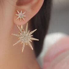 Hot Creative 1Pc Women Lady Crystal Rhinestone Dangle Gold Star Ear Stud Earring