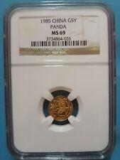 1985 China 5 Yuan Panda Gold 1/20 OZ NGC MS69