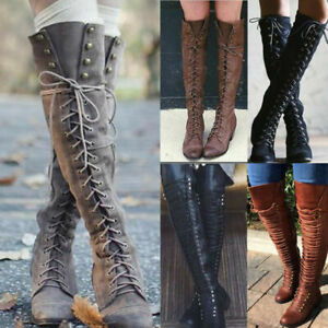 Women Combat Riding Boots Over Knee Thigh High Flat Block Heel Lace Up Shoes