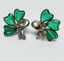 Vintage Signed BARCLAY Emerald Green Poured Glass Earrings Screwbacks Floral