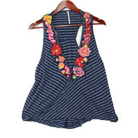 Free People Women's Embroidered Floral V-Neck Sleeveless Tank Top - Size Medium