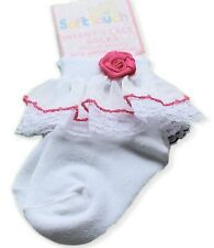 Baby Socken Weiße Söckchen mit Schmetterling Muster Taufe Weiß Strümpfe 48 50 56