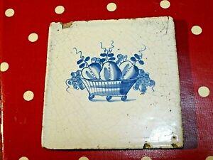 Antique Delft tile blue & white basket of fruit