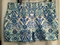 INC Women's Blue Paisley Twill Midi Casual Shorts Size 16 New with Tags