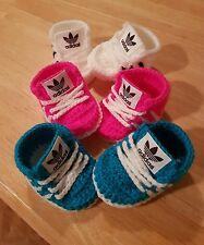 Hecho a mano de ganchillo bebé Zapatos para bebé chicas y chicos de 0-3 mes