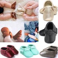 Newborn Baby Boy Girl Soft Leather Crib Shoes Moccasin Tassel Prewalker 0-18M US